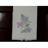 Crochet Edge White Cotton Hand Towel
