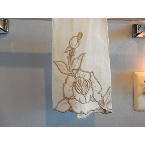 Beige Cut Work Embroidery Hand Towel