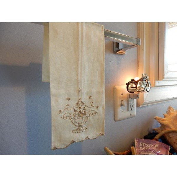 Beige Embroidery Hand Towel