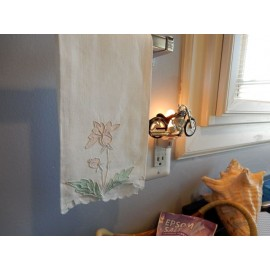 Embroidered Flower Hand Towel