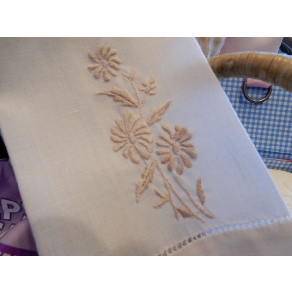 Beige Embroidered Hand Towel