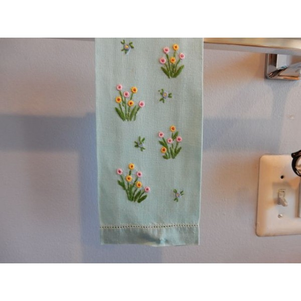 Peach and Blue Hand Towels