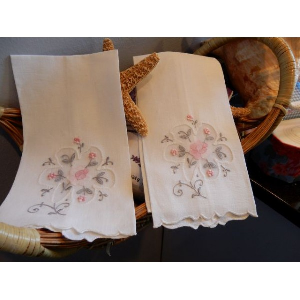 Pink and Grey Floral Hand Towel