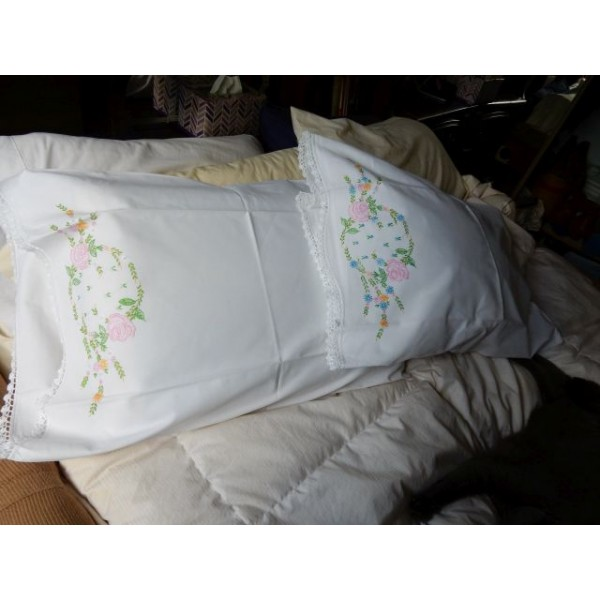 Floral Medallion Hand Embroidered Pillow Case