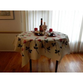 Bright Red Roses Medium Tablecloth with Napkins