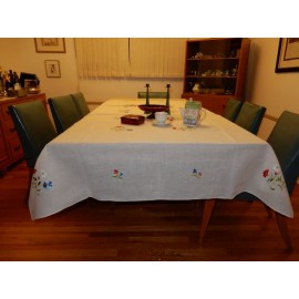 Embroidered Colorful Flower Tablecloth