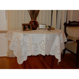 White Small Linen Tablecloth
