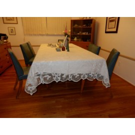 White Crochet Hand Made Long Tablecloth