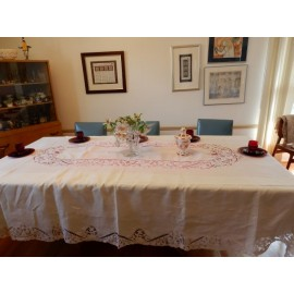 White Linen and Battenburg Lace Banquet-Sized Tablecloth